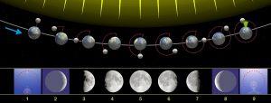 Grafik der Mondphasen zunehmender und abnehmender Mond